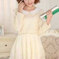 Kawaii Lolita Petals Collar Lace Fake Two Pieces Dress - Grey or Apricot - M L from Tobi's Finds