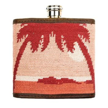 Palm Tree Needlepoint Flask in Sunset by Parlour