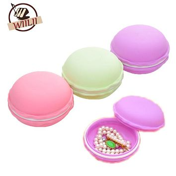 1PCS Plastic New Hot Fashion Sweet Macarons Jewelry Storage Box Candy Color Earring Necklace Hairpin Zakka Organizer