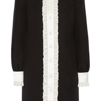 Gucci - Ruffle-trimmed wool and silk-blend crepe shirt dress