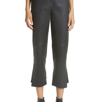 Yigal Azrouël Leather Front Crop Flare Pants | Nordstrom