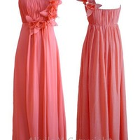 iOffer: New Peach Chiffon Evening Maxi Formal Homecoming Dress for sale