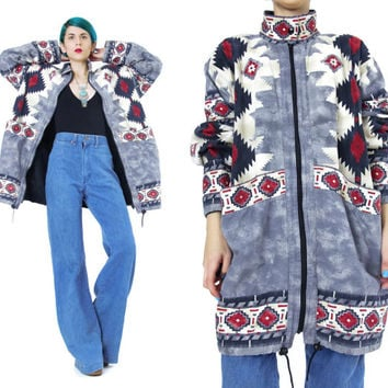 90s Southwest Coat Navajo Tribal Geometric Print Jacket Zip Up Parka Winter Fleece Lined Jacket Aztec Print Jacket Drawstring Anorak (L/XL)