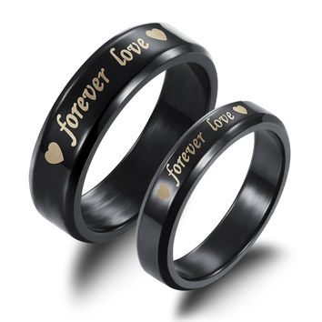 Fashion Black Pure Stainless Steel Couple Rings Forever Love Promise Wedding Ring Set (2pcs) [8958432839]