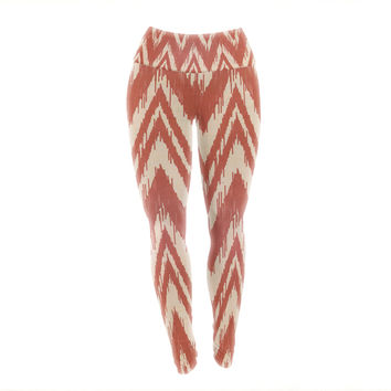 "Heidi Jennings ""Tribal Chevron Red"" Tan Maroon Yoga Leggings"
