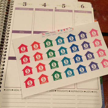 FREE SHIPPING E5 Mortgage due house stickers for Erin Condren Life Planner/Plum Paper Planner - set of 28