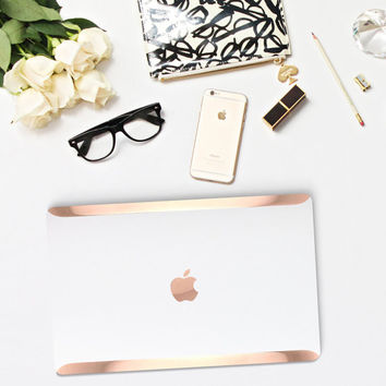 Platinum Edition Satin White Pearl with Rose Gold Edge Detailing Hybrid Hard Case for Apple Macbook Air & Mac Pro 13 Retina, Macbook 12