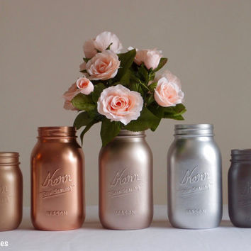 Home Decor Vase Metallic Mason Jar Centerpiece Rose Gold Decor Copper Silver
