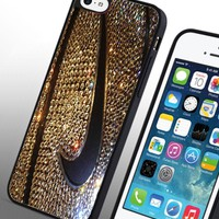 Just Do It Nike Gold Glitter Basketball NBA Custom Case for Iphone 4/4s 5 5c 6 6plus (Iphone 6plus black)