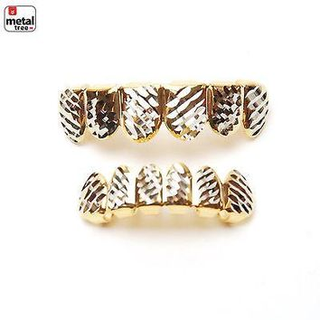 Jewelry Kay style Men's Bling Grillz 14k Gold Plated Diamond Cut Plain Top & Bottom Teeth LS001-C4