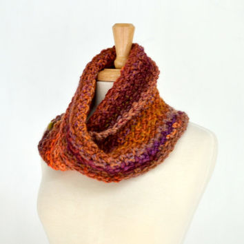Bulky Autumn Cowl, Crochet Loop Scarf, Striped Orange Mobius