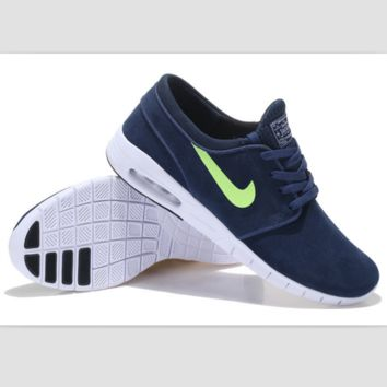NIKE fashion skateboarding shoes running shoes Dark blue and green