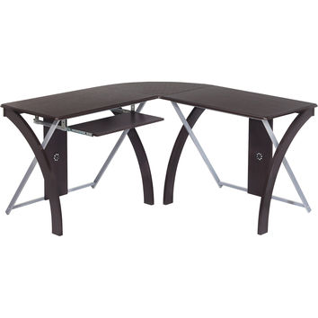 OSP X-Text L-Shaped Computer Desk with Silver Accents, Espresso Finish