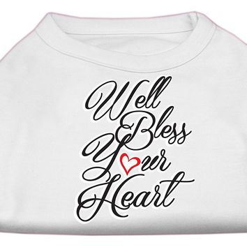 Well Bless Your Heart Screen Print Dog Shirt White Xs (8)