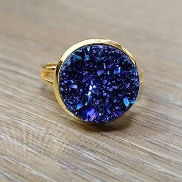 Druzy Ring- Deep blue drusy Gold tone druzy ring