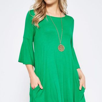Bell Sleeve Shift Dress - Green