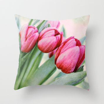 Twilight Tulips Throw Pillow by micklyn | Society6