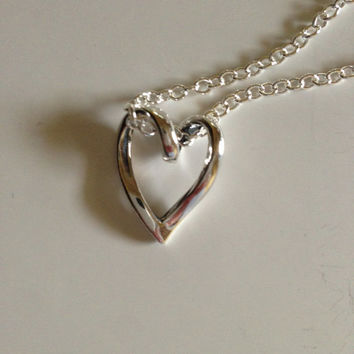 Silver Heart Pendant, heart necklace, chain necklace, heart charm, silverbymaggie, gifts for her, valentines, fashion jewelry, chic jewelry