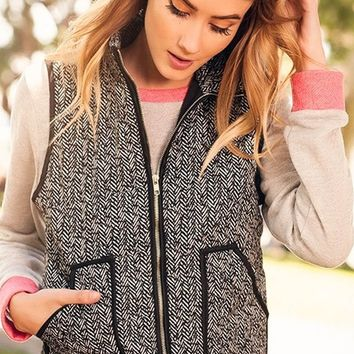 Herringbone Wild Puffer Vest FINAL SALE!