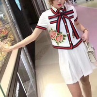 """Gucci"" Women Temperament Retro Fashion Multicolor Stripe Bow Embroidery Cardigan Short Sleeve Shirt Skirt Set Two-Piece"