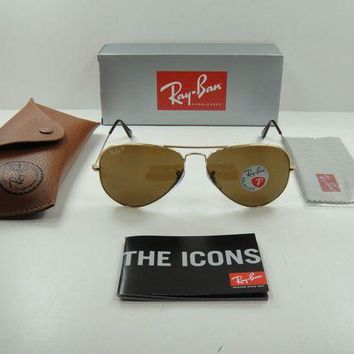 Gotopfashion RAY-BAN AVIATOR POLARIZED SUNGLASSES RB3025 001/57 GOLD FRAME/BROWN LENS, 62MM