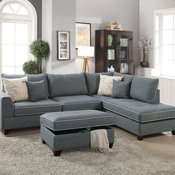 Poundex F6542 3 pc Cleveland collection steel color woven fabric upholstered sectional sofa with reversible chaise and storage ottoman