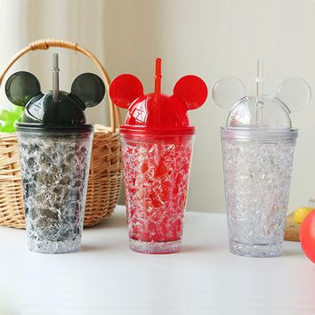 Cool Summer Mickey Ice Crack Straws Smoothie Maker Cup Small Frozen Plastic Milkshake Smoothie Cups Iced Drinks Mug