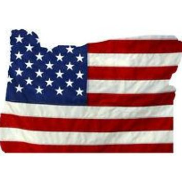 State of Oregon Realistic American Flag Window Decal - Various Sizes