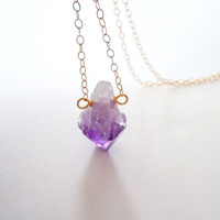 Raw Amethyst Necklace - Gold Filled Chain - Crystal Mineral Jewelry