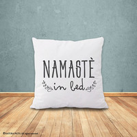 Namastè in bed pillow-Namastè in bed pillow cover-yoga pillow-gift for yogi-Namastay home decor-Christmas gift-yoga-by NATURA PICTA-NPCP078