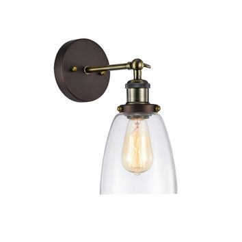 "Ironclad, Industrial-Style 1 Light Rubbed Bronze Wall Sconce 6"" Wide"