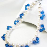White Freshwater Pearl Bracelet Blue Swarovski Faceted Crystals 8 inch