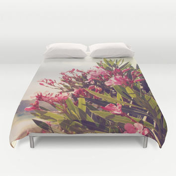 Art Duvet Cover Flowers in Paradise 2 fine art Modern Landscape photography home decor Pink Floral printed Bed Cover tan green blue gray