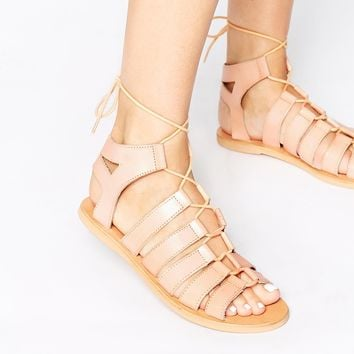 Warehouse Lace Up Flat Gladiator Sandals