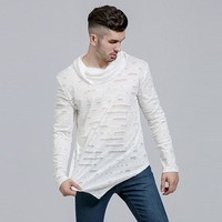 Asymmetrical Men Long Sleeve T-Shirt