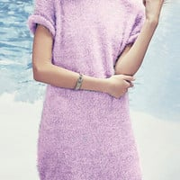 Light Purple Mohair Sweater with Turn-up Sleeve