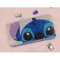 Stitch Logo Rhinstone Bling Case for Iphone 4 and 4s (Big Face)