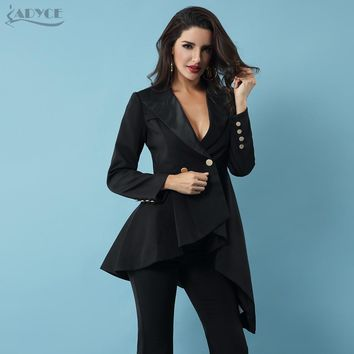 Adyce 2018 New Women Dresses Casual Double Breasted Trench Black Long
