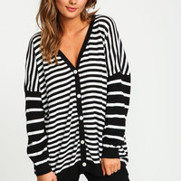 Black Contrast Striped Dolman Cardigan