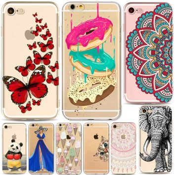 Phone Case For iPhone 6 6s 7 Plus SE 5 5s Cover Girls Cat Cartoon Mandala Donuts Banana Panda Transparent Soft Silicone Capa