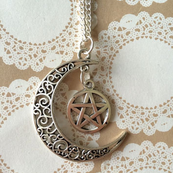 Moon and pentagram necklace, Moon and pentacle necklace, Moon pendant, Moon necklace, Pentagram necklace, Pentacle necklace,