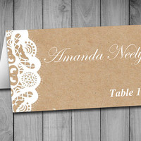 Fold Over Wedding Place Card Template - Kraft Escort Card -  Vintage Lace Place Cards - Kraft Wedding Table Cards - Rustic Name Cards