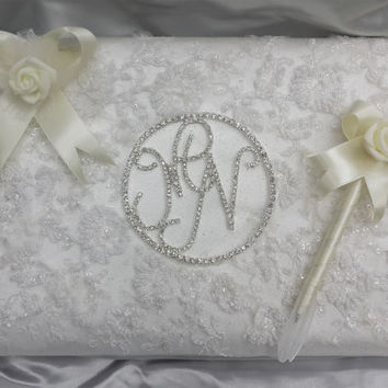 wedding personalized guest book covered with Embroidered tole fabrics staffed with sponge and topped with spring colors flowers
