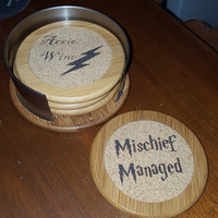 Engraved Harry Potter Inspired Bamboo and Cork Coasters ~ Home Decor ~ Geek Decor ~ Housewarming Gift
