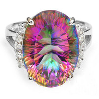 Arianna Mystic Fire Topaz 925 Sterling Silver Ring