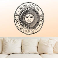 Wall Decal Vinyl Sticker We Live by the sun We feel by the moon Ethnical r1167
