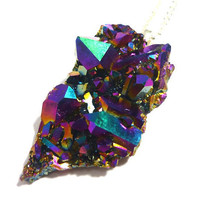 Titanium Quartz Rainbow Aura Crystal Cluster Druzy Necklace n.1 by AstralEYE