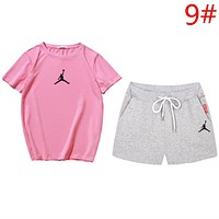 Jordan High quality Fashion New Summer People Print Top And Shorts Leisure Two Piece Suit Women