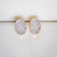 Oval Shape Stud Earrings in White and Gold