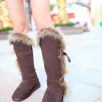 Fashion Women UGG Fox Fur Tall Boots 1984 Chocolate